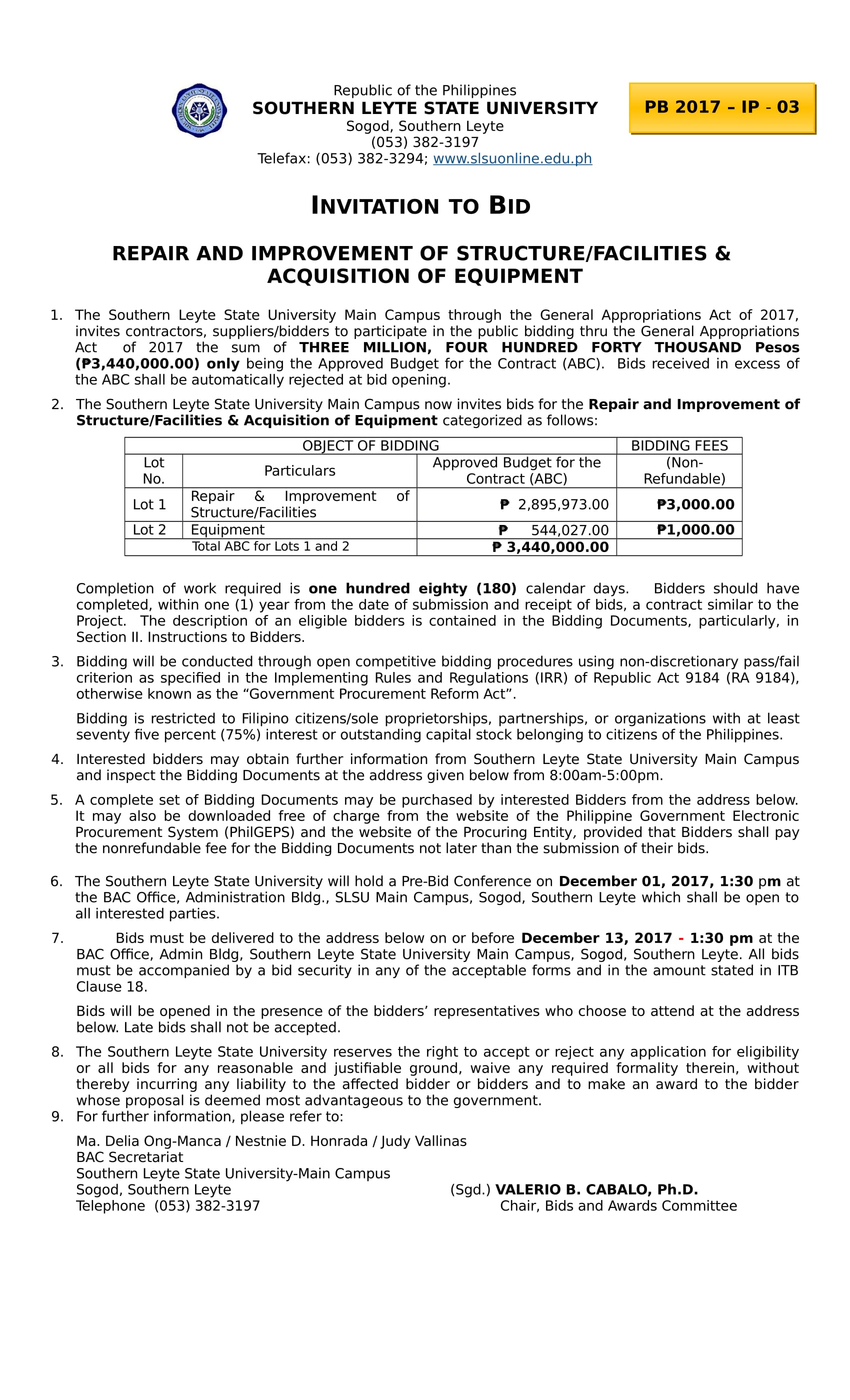 Invitation to bid for the repair and improvement of structure invitation to bid for the repair and improvement of structurefacilities acquisition of equipment stopboris Image collections